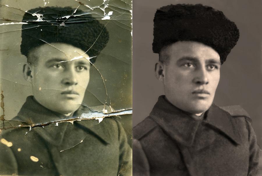восстановить черные фотографии мужских пальто